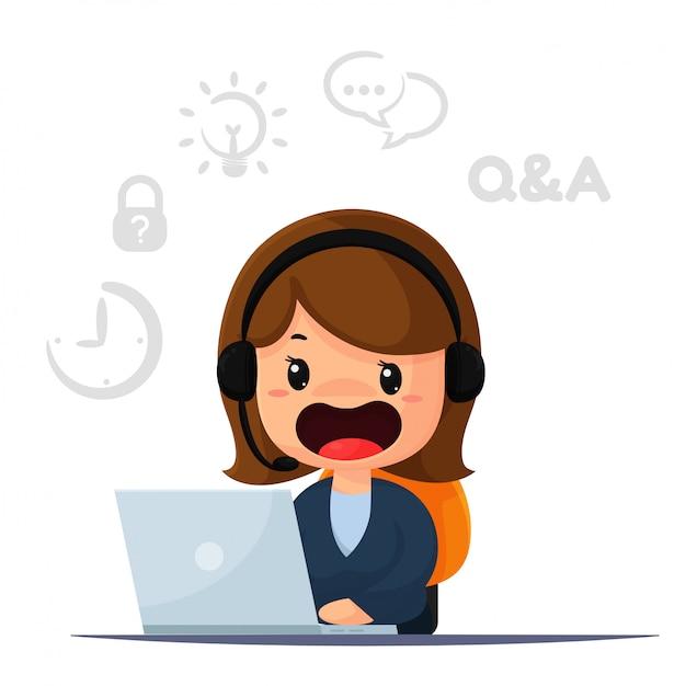 O funcionário e o operador de cartum é responsável por entrar em contato com os clientes e fornecer conselhos. Vetor Premium