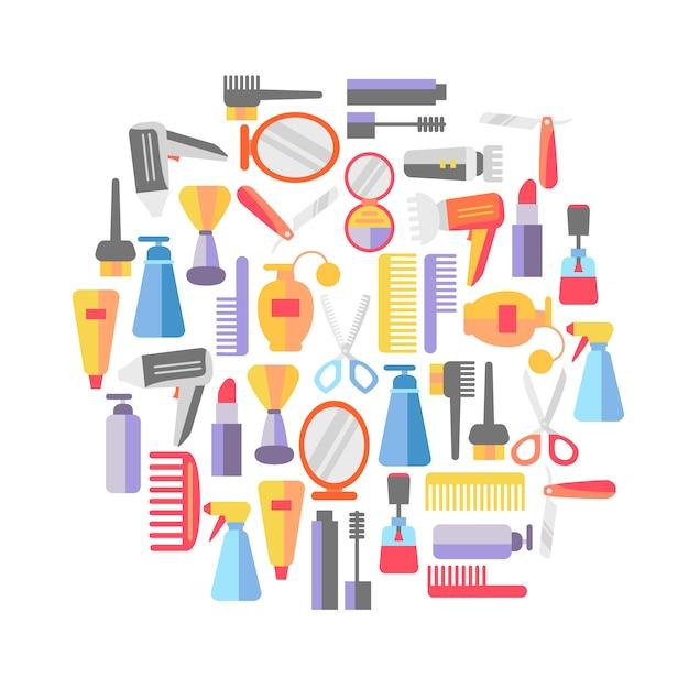 O fundo da loja da beleza com compõe objetos do artista e do cabeleireiro. Vetor grátis