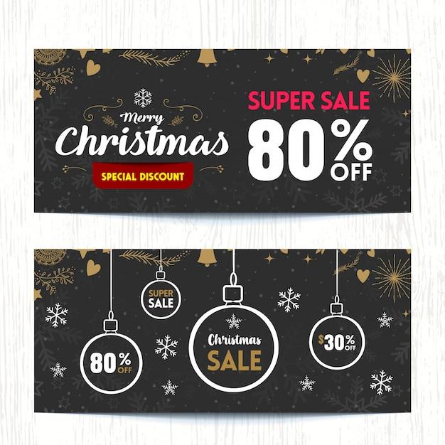 O fundo de banner super venda de natal. Vetor Premium