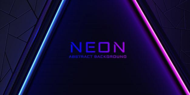 O fundo de néon abstrato com uma linha de luz azul e rosa e uma textura. Vetor Premium