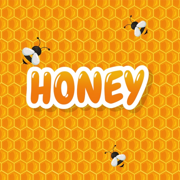 O fundo geométrico do favo de mel tem uma cor doce de mel amarelo para fazer uma deliciosa padaria. Vetor Premium