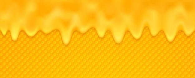 O fundo laranja do mel está derretendo com favo de mel. Vetor Premium