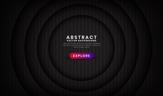 O fundo preto 3d abstrato sobrepõe camadas com padrões de listras Vetor Premium