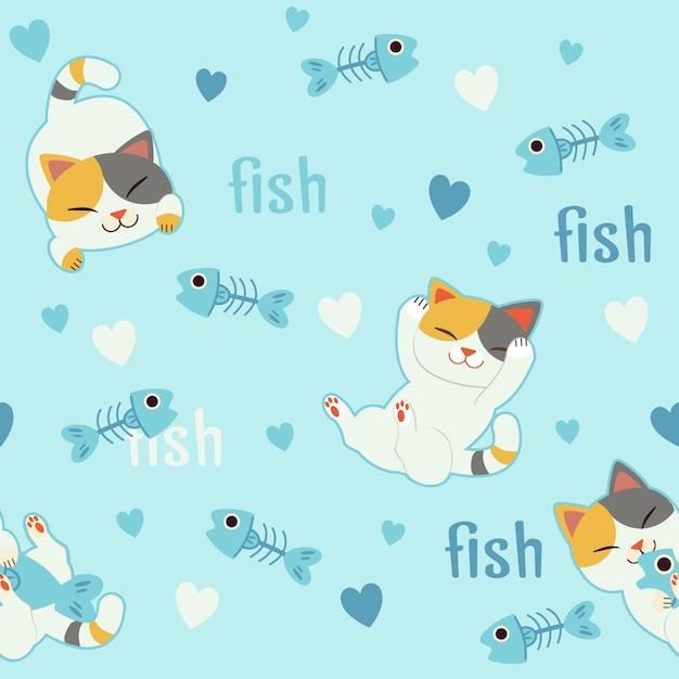 O fundo sem emenda para caráter de gato bonito no amor com espinha de peixe. Vetor Premium
