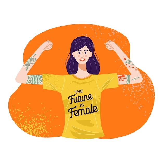 O futuro é o conceito feminino, ilustração de uma mulher tatuada em pé com os braços erguidos. Vetor Premium