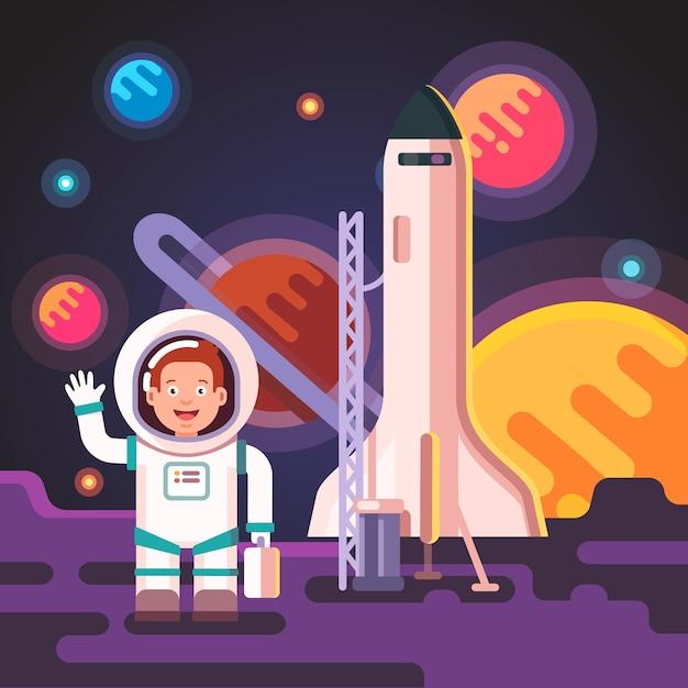 O garoto do astronauta pousou em uma lua ou um planeta alienígena Vetor grátis