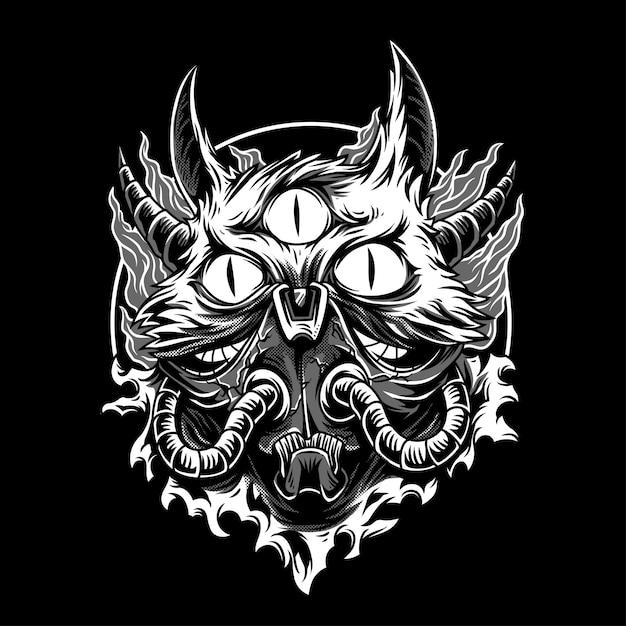 O gato monstro preto e branco ilustração Vetor Premium