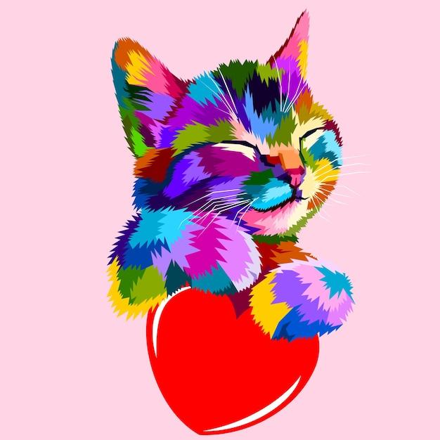 O gato sorridente abraça o coração do amor Vetor Premium