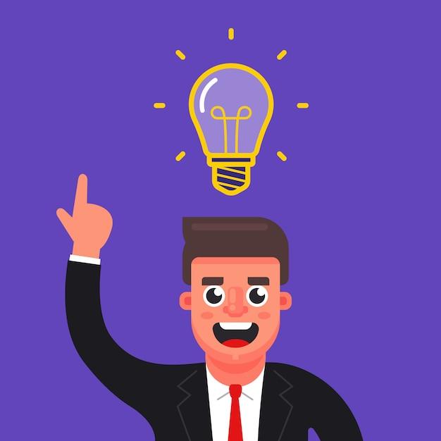 O gerente teve uma ideia brilhante. lâmpada sobre sua cabeça. ilustração em vetor personagem plana. Vetor Premium