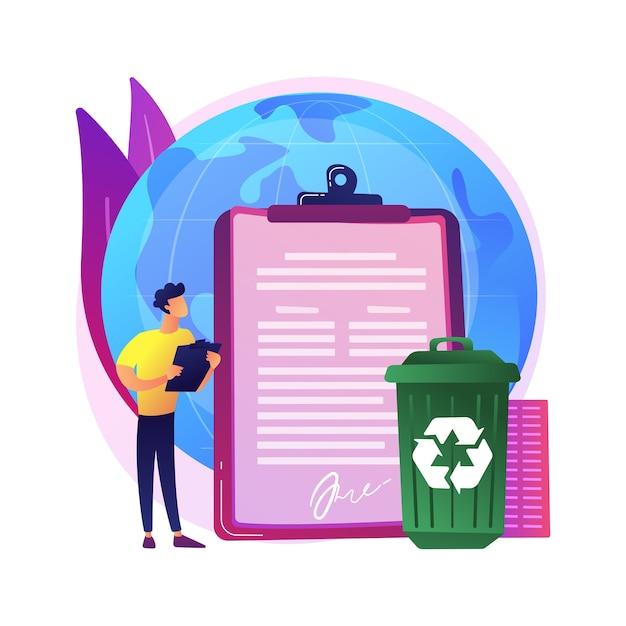 O governo determinou a reciclagem da ilustração do conceito abstrato. regulamentações ecológicas, lei de reciclagem local, resíduos sólidos municipais, materiais recicláveis, programa de calçada Vetor grátis