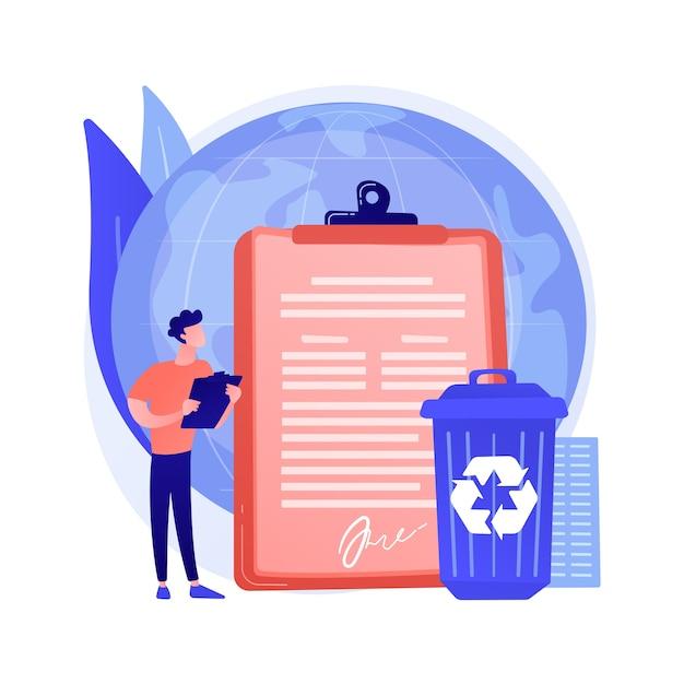 O governo determinou a reciclagem da ilustração em vetor do conceito abstrato. regulamentações ecológicas, lei de reciclagem local, resíduos sólidos municipais, materiais recicláveis, metáfora abstrata do programa junto ao meio-fio. Vetor grátis