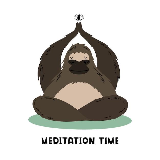 O grande gorila faz meditação e ioga Vetor Premium