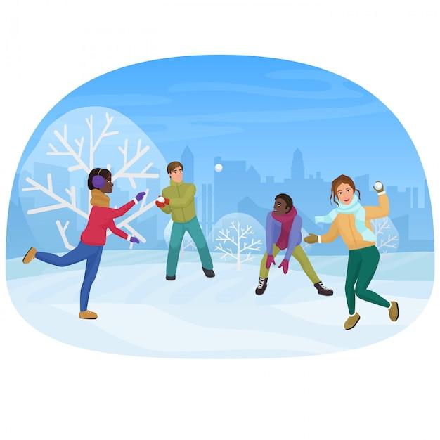 O grupo de amigos que jogam as bolas de neve fora da ilustração do vetor. Vetor Premium