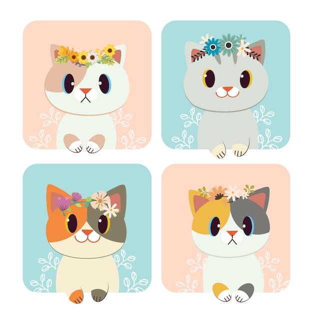 O grupo de gato bonito usa uma coroa de flores. Vetor Premium