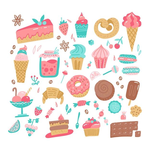 O grupo de vária cor rabisca ilustração simples áspera tirada mão dos doces e dos doces. Vetor Premium