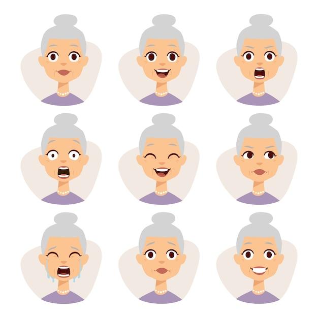 O grupo isolado de expressões engraçadas do avatar da avó enfrenta a ilustração das emoções. Vetor Premium