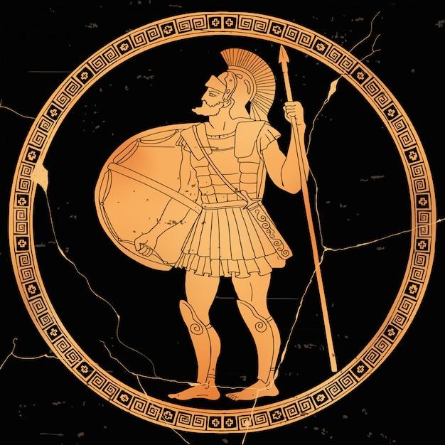 O guerreiro grego antigo com uma lança e um escudo nas mãos está pronto para atacar. Vetor Premium