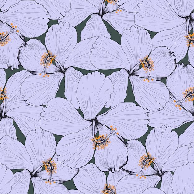 O hibiscus sem emenda do teste padrão floresce o fundo abstrato. ilustração desenho tecido design. Vetor Premium