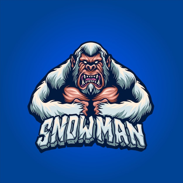 O homem da neve com raiva Vetor Premium