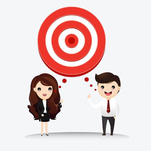 O homem de negócio e a mulher de negócio falam com o alvo ao sucesso. Vetor Premium