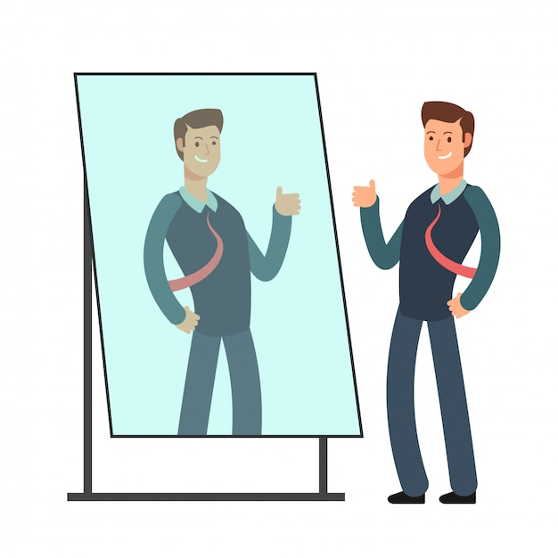 O homem de negócios dos desenhos animados ama olhar sua reflexão no espelho. conceito de vetor pessoa egoísta Vetor Premium