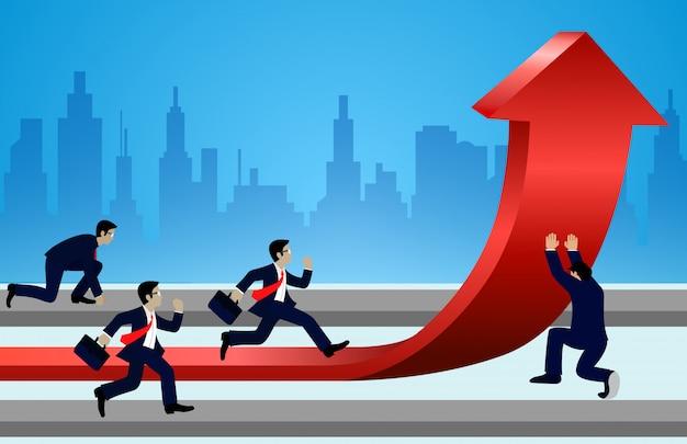 O homem de negócios que compete e muda setas das direções vermelhas ao objetivo para conseguir o sucesso. ir para o crescimento alvo. liderança Vetor Premium