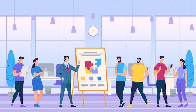 O homem ensina como criar uma equipe forte no escritório. Vetor Premium