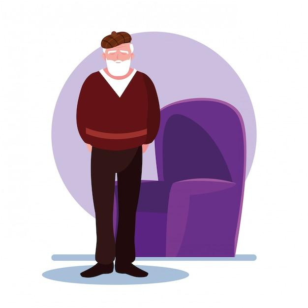 O homem idoso se cuida em casa Vetor Premium
