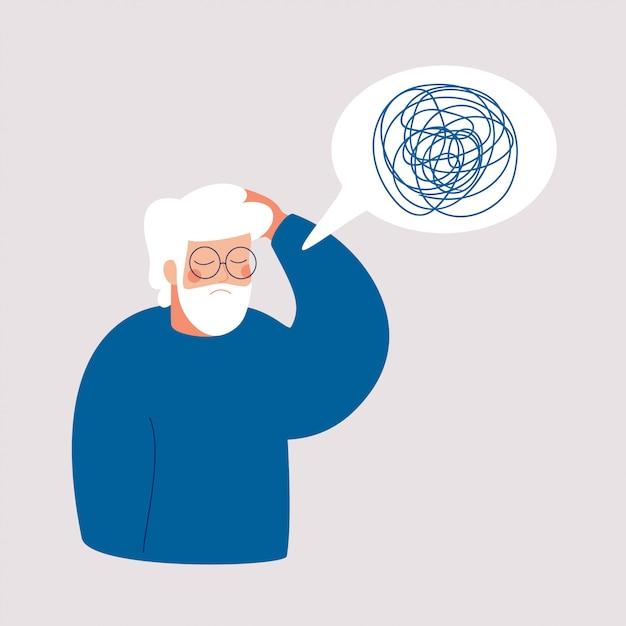 O homem mais velho está em depressão com pensamentos confusos em sua mente. Vetor Premium
