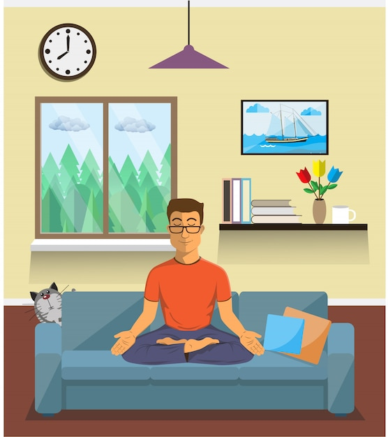 O homem medita na posição de lótus da ioga no interior home. calma pose, equilíbrio mental, harmonia, energia espiritualidade, sessão de exercício do corpo. plano . Vetor Premium