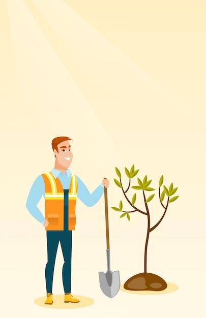 O homem planta a ilustração do vetor da árvore. Vetor Premium