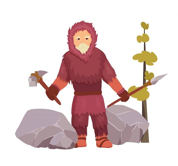 O homem primitivo da idade da pedra do norte vestiu-se bem na roupa morna da pele com martelo e lança de pedra. Vetor Premium
