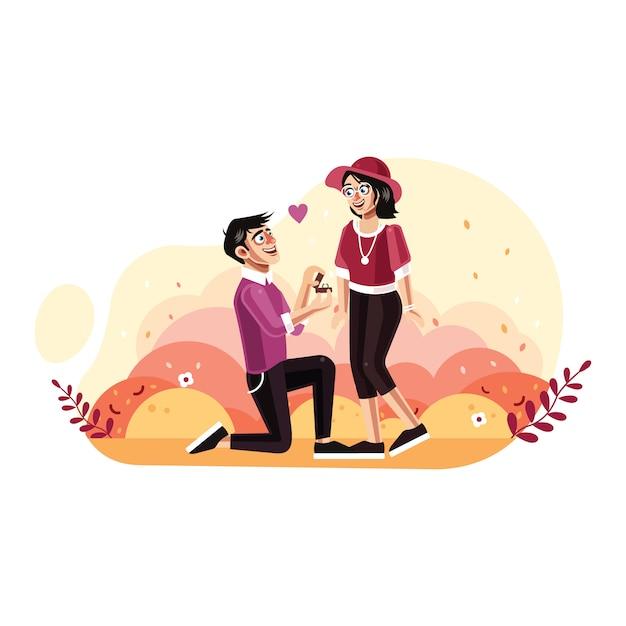 O homem propõe uma mulher para se casar Vetor Premium