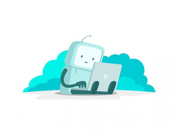 O homem robô astronauta senta-se com o laptop. pesquisa na internet. navegação na internet. página de erro não encontrada. ilustração de cor lisa Vetor Premium