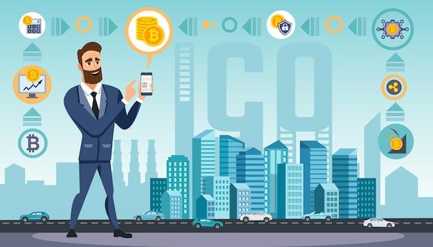 O homem usa tecnologias de moeda criptografada Vetor Premium