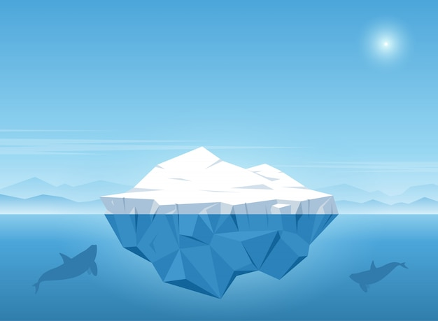 O iceberg que flutua no oceano azul com baleia nada sob o iceberg. ilustração vetorial Vetor Premium