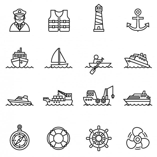 O ícone do barco e do navio ajustou-se com fundo branco. Vetor Premium