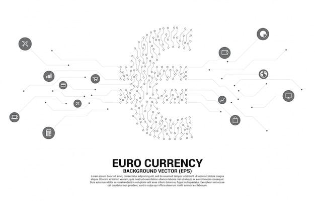 O ícone do dinheiro da moeda do euro do vetor do ponto do estilo da placa de circuito conecta a linha. conceito para economia digital e conexão de rede financeira. Vetor Premium