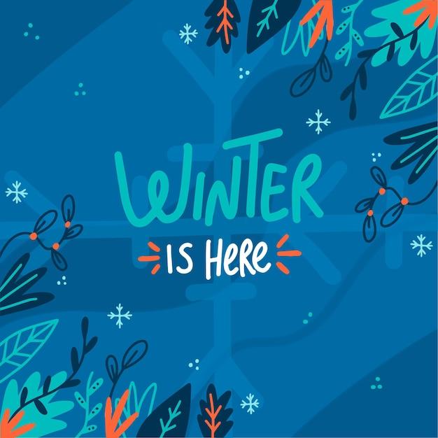 O inverno chegou mensagem no fundo ilustrado Vetor grátis