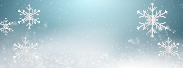 O inverno é o elemento de luz de desfoque abstrato que pode ser usado para o fundo decorativo do bokeh. neve caíndo Vetor Premium