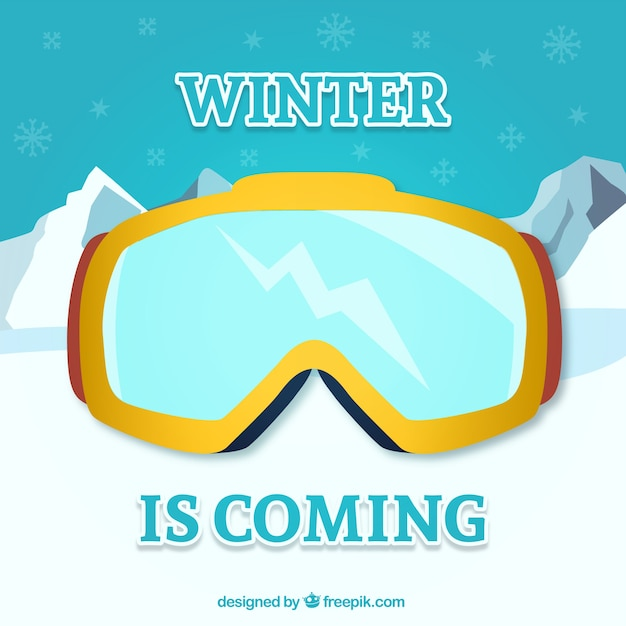 O inverno está chegando com óculos de proteção Vetor grátis