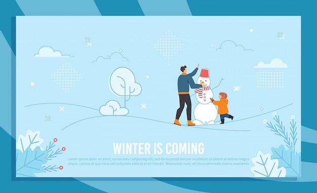 O inverno está chegando ilustração Vetor Premium