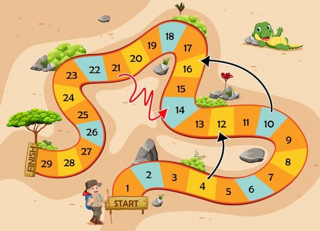 O jogo de cobras e escadas com o tema da aventura Vetor Premium