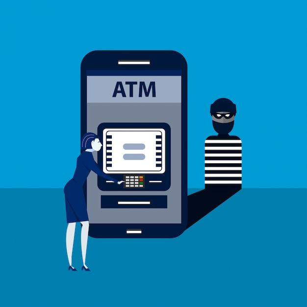 O ladrão hacks de volta telefone inteligente com terminal de pagamento de mulher system.isometric ilustração. Vetor Premium
