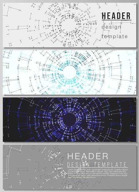 O layout dos cabeçalhos, modelos de banner Vetor Premium