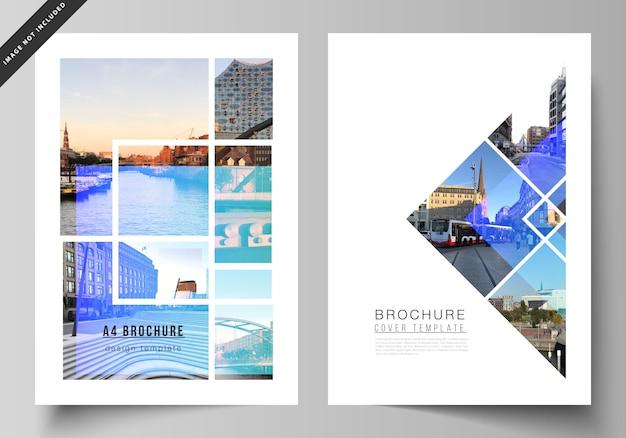 O layout dos modelos de design de capa moderna de formato a4 para folheto, revista, folheto, livreto, relatório anual. Vetor Premium