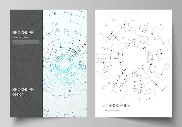 O layout dos modelos de design de maquetes de capa de formato a4 para brochura, folheto, livreto, relatório. Vetor Premium