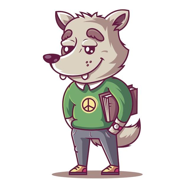 O lobo sorri. jovem estudante com um livro. Vetor Premium