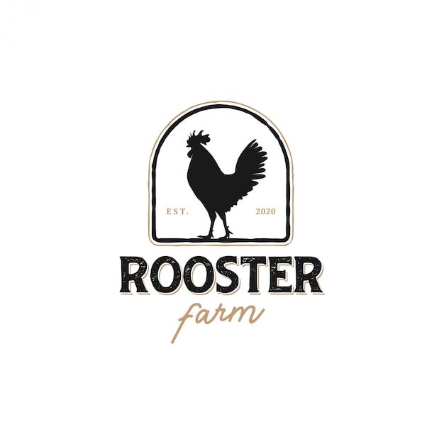 O logotipo de um galo com um modelo clássico para etiquetas de produtos, vendedor de carne de frango Vetor Premium