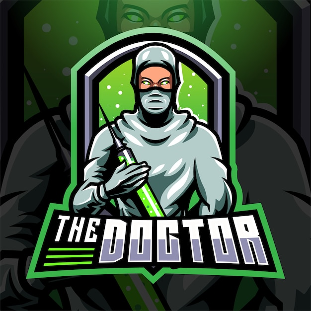 O logotipo do mascote doctor esport Vetor Premium